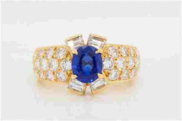1.28ct GIA Sri Lankan Blue Sapphire & Diamond Ring