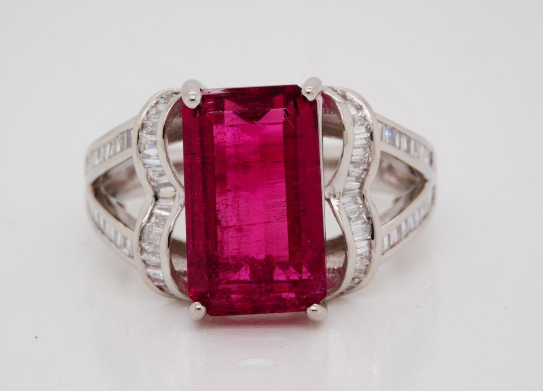 4.9ct Pink Tourmaline & Platinum Ring W/Diamonds