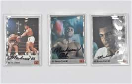 Muhammad Ali Lot of 3 Signed Boxing Trading Cards