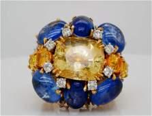 David Webb 3550ctw Sapphire 225ctw Diamond Ring