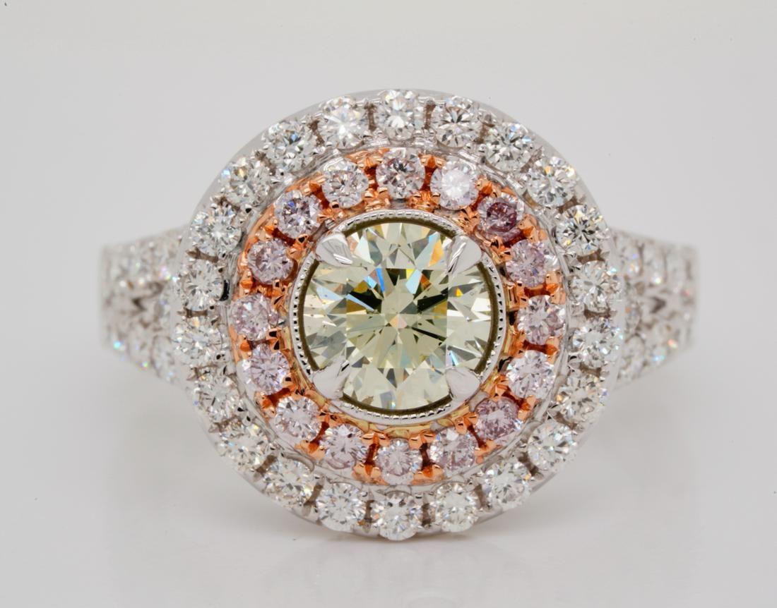 1.01ct GIA SI2 Grayish Yellowish Green Diamond Ring