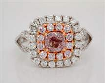 101ct GIA SI1 Fancy BrownPink Diamond 18K Ring