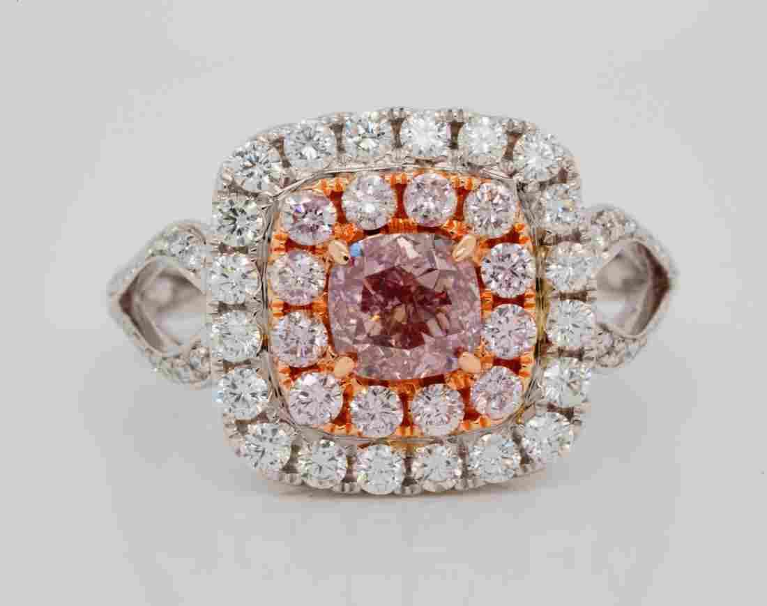 1.01ct GIA SI1 Fancy Brown-Pink Diamond 18K Ring