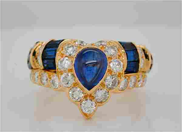 Graff 3.10ctw Blue Sapphire & 1.75ctw Diamond Ring