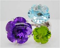 Chanel 33.00ctw Multi-Gemstone 18K Camelia Ring