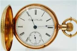 Elgin 1891 GM Wheeler 15J Pocket Watch W/14K Case