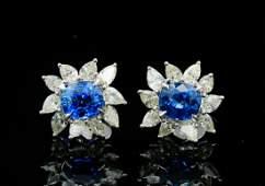 3.50ctw Blue Sapphire, 2.00ctw Diamond 18K Earrings