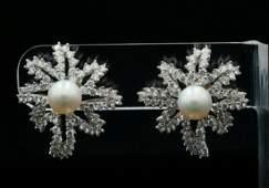 Tiffany  Co 4ctw Diamond Pearl  Plat Earrings