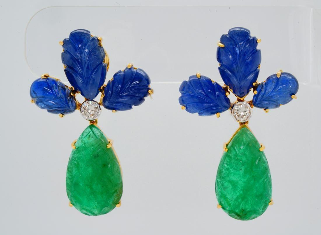 30ctw Blue Sapphire & Emerald 18K Earrings W/Diamonds