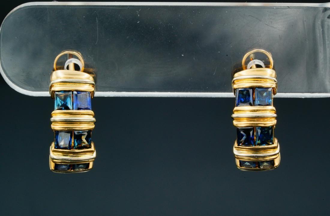 """Cartier 2.00ctw Blue Sapphire & 18K 0.75"""" Earrings"""