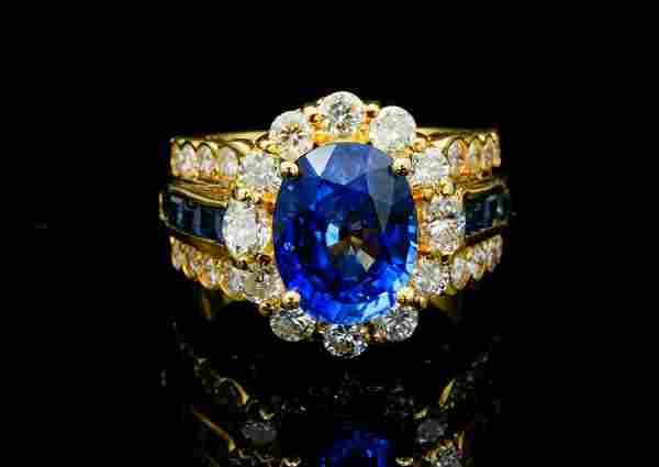 4.75ctw Blue Sapphire, 1.50ctw Diamond 18K Ring
