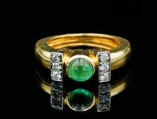 David Webb 060ct Emerald Diamond 18KPlatinum Ring
