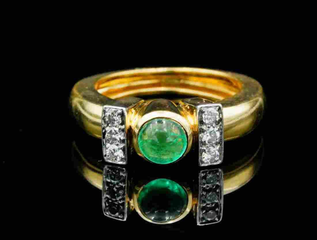 David Webb 0.60ct Emerald, Diamond 18K/Platinum Ring