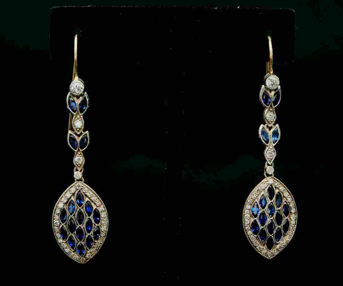 4.00ctw Blue Sapphire, 1.50ctw Diamond 18K Earrings