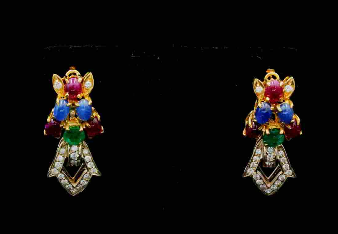 7.50ctw Multi-Gemstone, 1.00ctw Diamond 18K Earrings