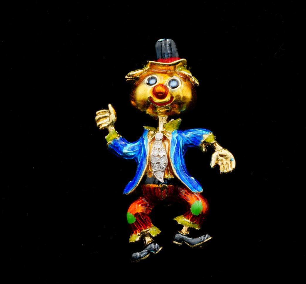 18K Yellow Gold Enamel Scarecrow Brooch WDiamonds