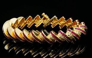 Charles Krypell 10ctw Ruby & 3.30ctw Diamond Bracelet