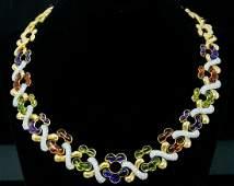 Garrard 3.70ctw Diamond, Gemstone & 18K Necklace