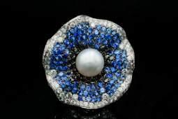 Maggioro 4.75ctw Diamond, Pearl, Blue Sapphire Ring