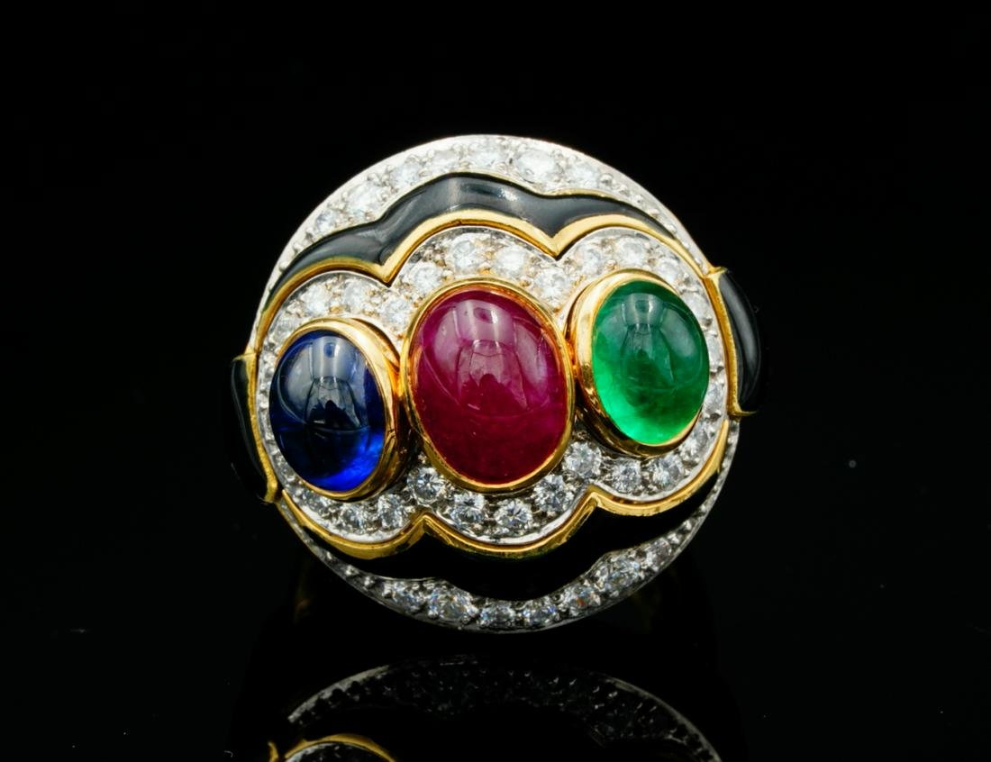 David Webb 3.50ctw Gemstone & 1.25ctw Diamond Ring