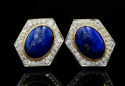 David Webb 400ctw Diamond Lapis 18KPlat Ear Clips