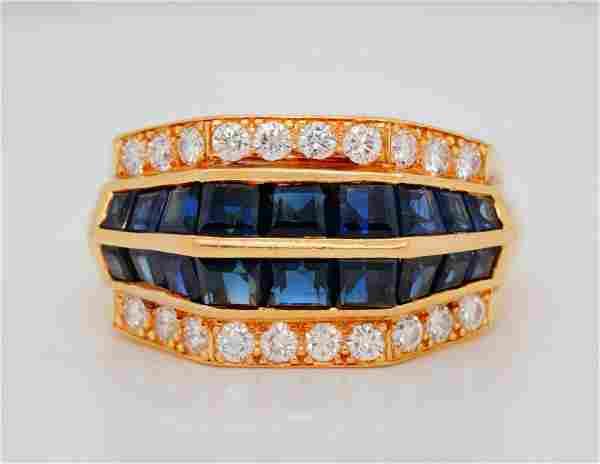Oscar Heyman 2.55ctw Blue Sapphire & Diamond Ring
