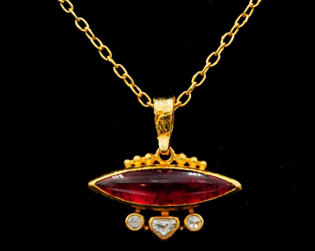 Gurhan 0.40ctw Diamond, Pink Tourmaline 24K Necklace
