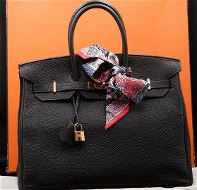 Hermes 35cm Chocolate Brown Clemence Leather Birkin