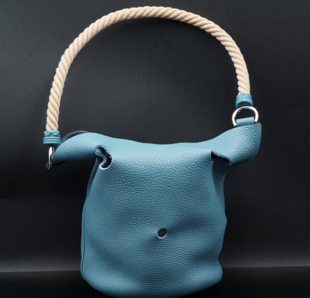 Hermes Blue Jean Clemence Leather Mangeoire Bag