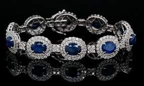 15.00ctw Blue Sapphire, 5.00ctw Diamond 18K Bracelet