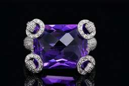 Gucci 2100ct Amethyst 125ctw Diamond 18K Ring
