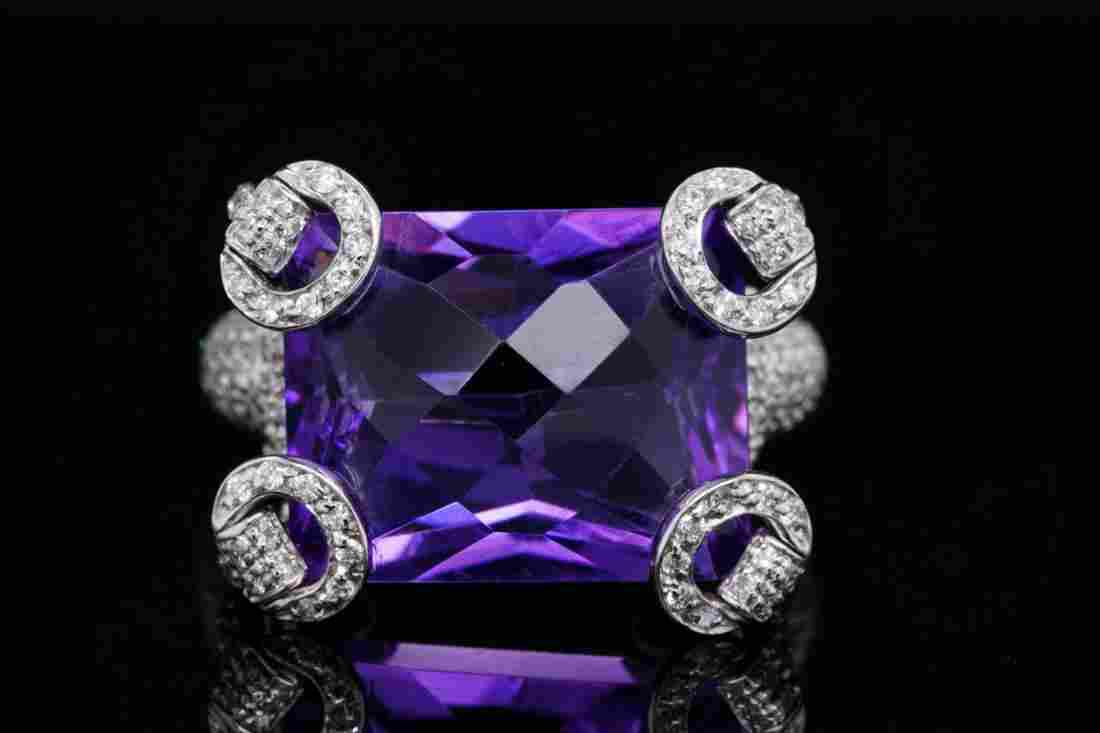 Gucci 21.00ct Amethyst, 1.25ctw Diamond 18K Ring
