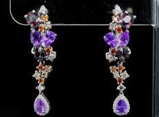 800ctw Sapphire 130ctw Diamond 14K Earrings