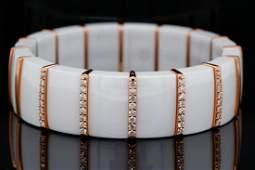Roberto Demeglio 0.89ctw Diamond, 18K Ceramic Bracelet