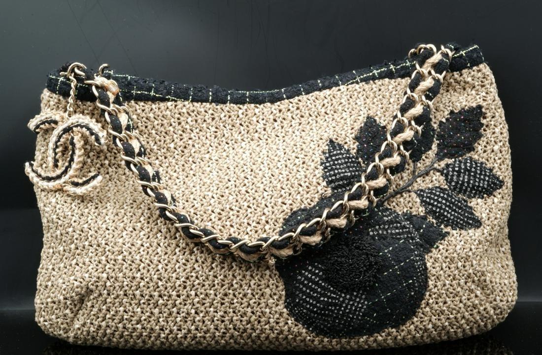 Chanel Woven Tan Rattan & Tweed Camellia Hobo Bag
