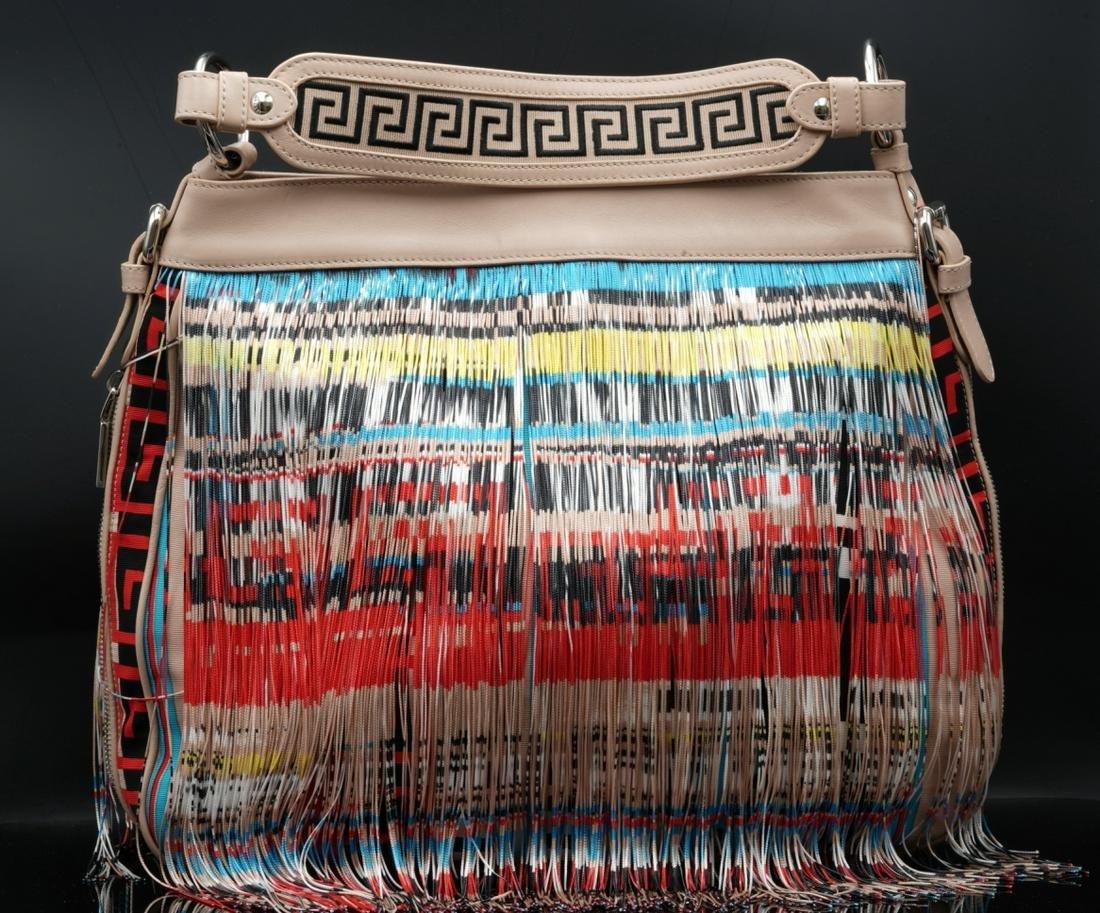 Versace Twill & Leather Fringed Frida Hobo Bag