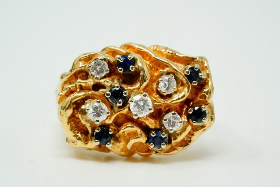 Elvis Presley's Diamond, Blue Sapphire & 14K Ring