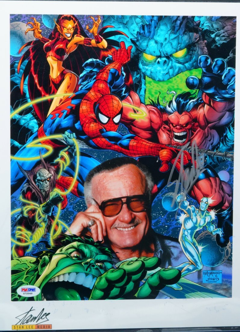 Stan Lee Signed Collage Cartoon Photograph W/PSA DNA
