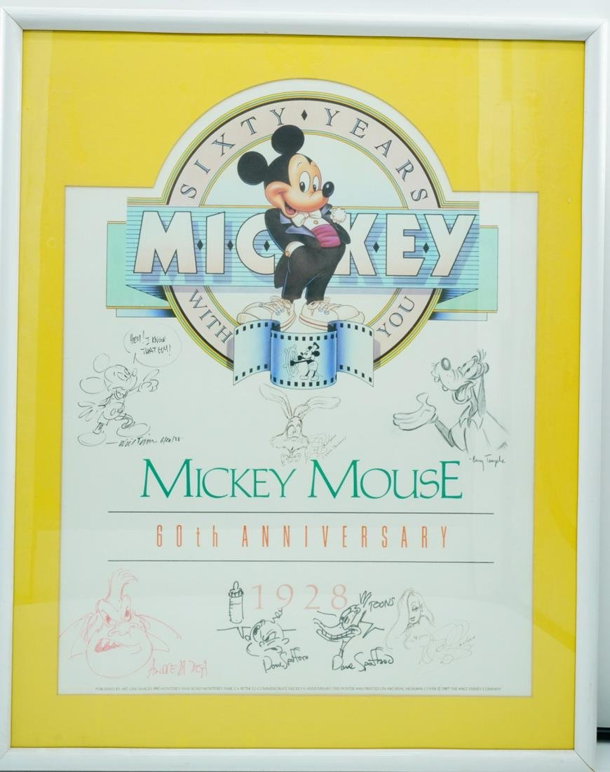 Mickey Mouse 60th Anniversary Litho W/(7) Sketches