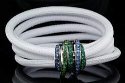 de Grisogono 2.81ctw Multi-Gemstone Leather Bracelet
