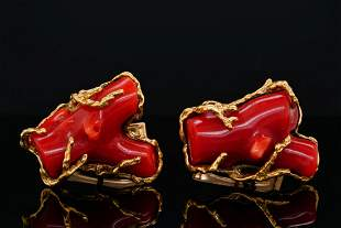 Arthur King Oxblood Red Coral & 18K Cufflinks