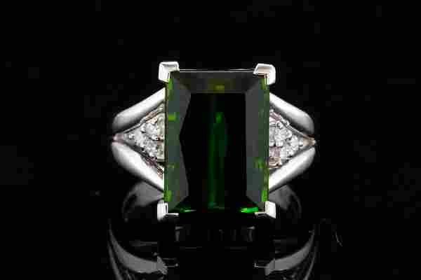 7.50ct Green Tourmaline & Platinum Ring W/Diamonds