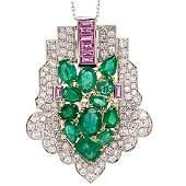 8.50ctw Emerald, 6.50ctw Diamond & Sapphire Necklace