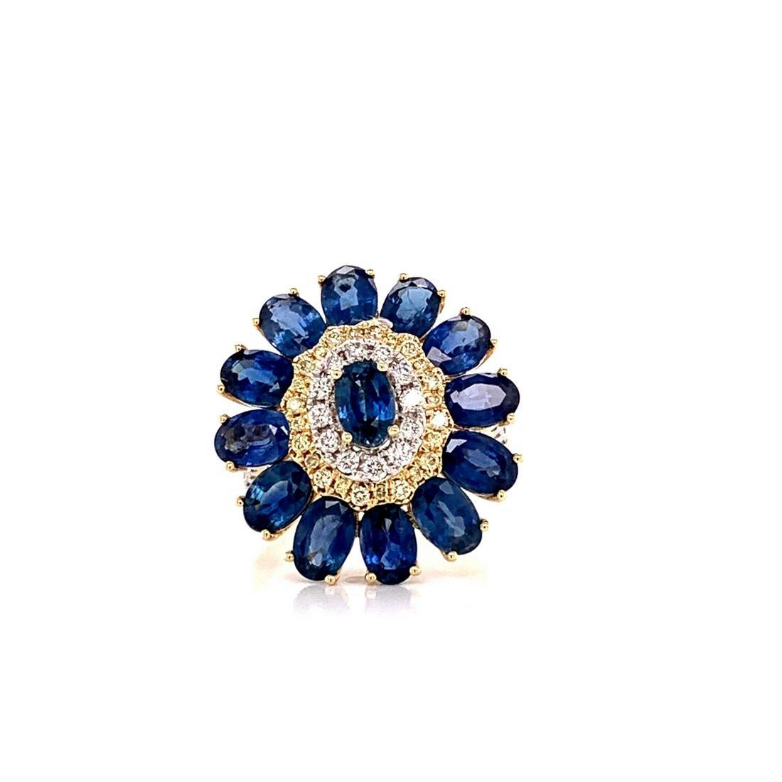 6.25ctw Blue Sapphire, 0.65ctw Diamond 14K Ring
