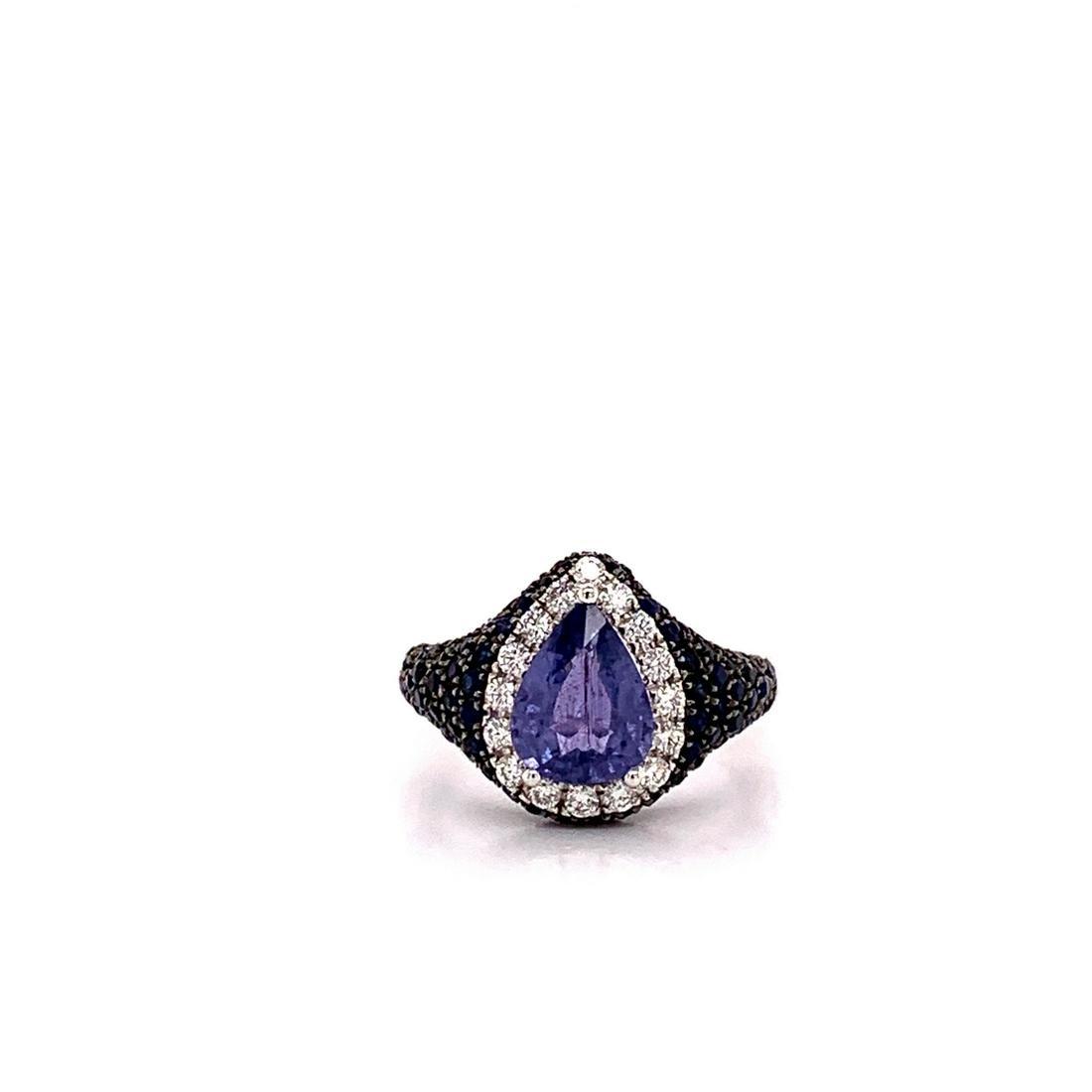 3.50ctw Blue Sapphire & 14K Ring W/Diamond Accents