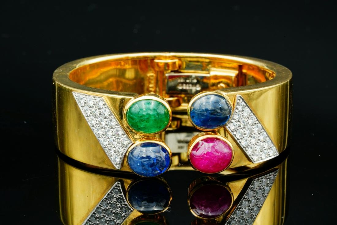 David Webb 16ctw Multi-Gemstone, 2ctw Diamond 18K Cuff