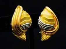 Henry Dunay Platinum  18K Textured Shell Ear Clips
