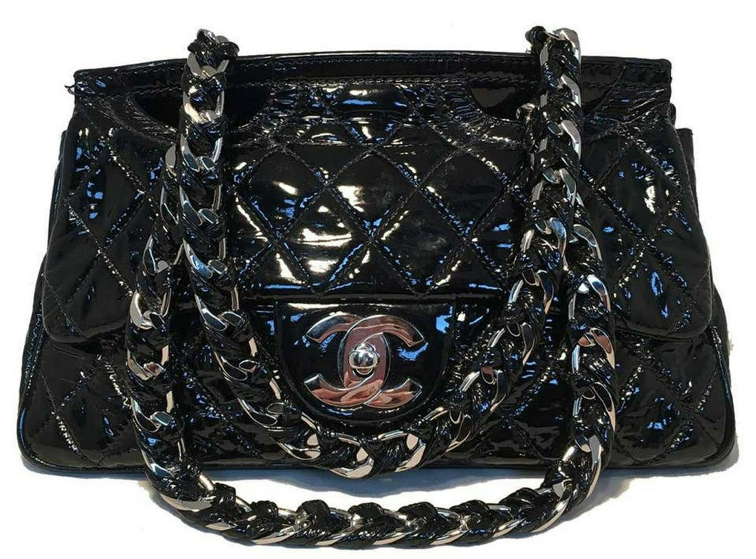 Chanel Black Patent Leather Two Way Classic Flap Bag