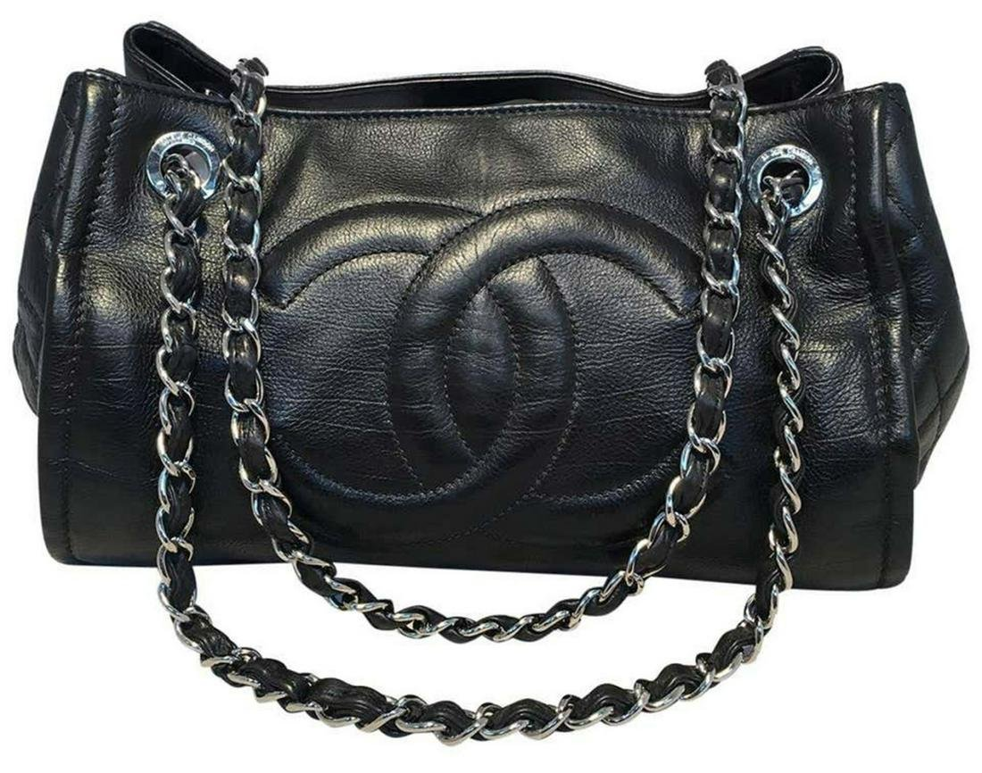 Chanel Black Calfskin CC Open Accordion Shoulder Bag