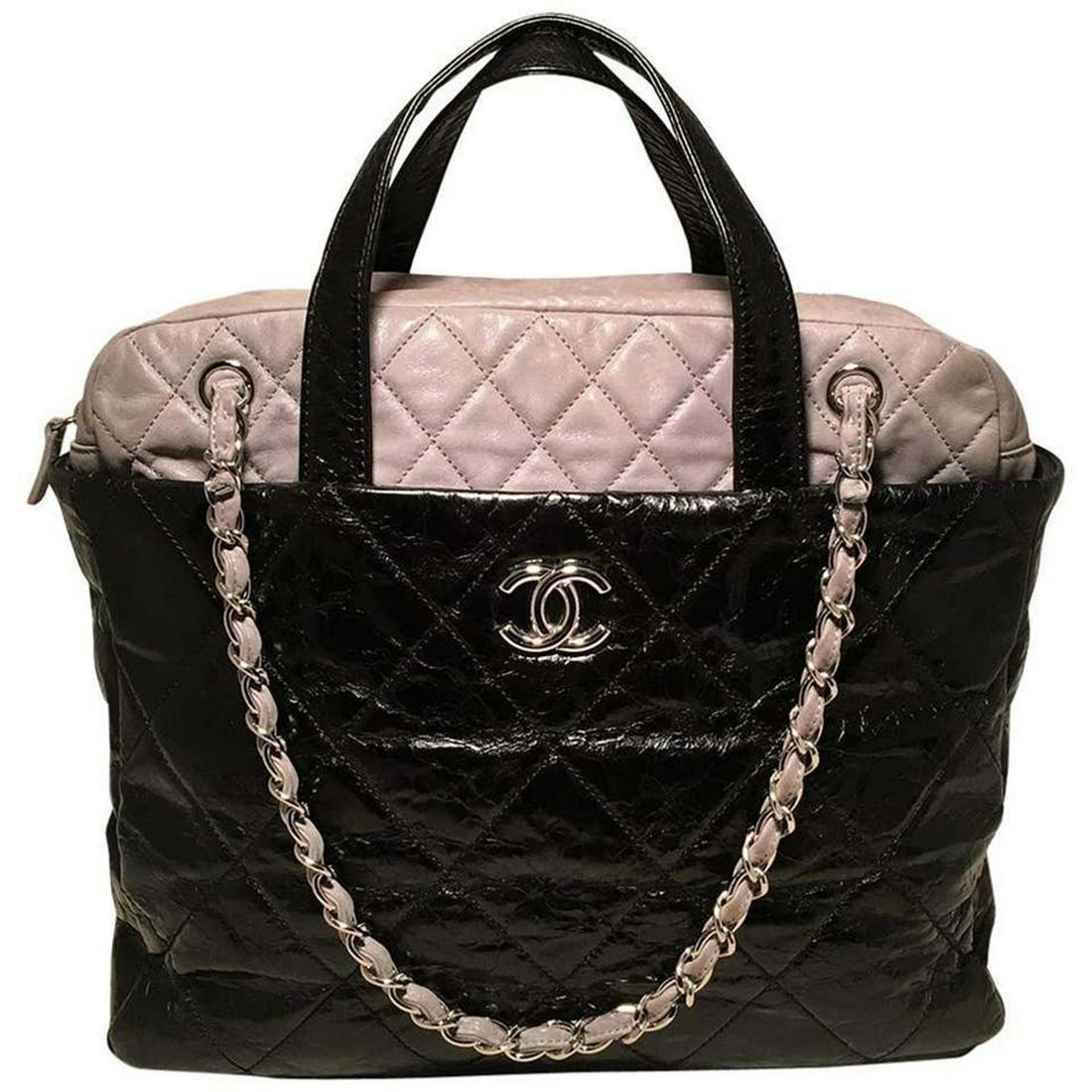 Chanel Black & Grey Quilted Leather Portobello Tote